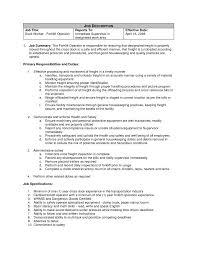 Warehouse Forklift Operator Job Description For Resume Forklift Operator Job Description Template Resume Sample Summary 13