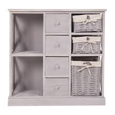mobili rebecca cupboard cabinet 4 drawers 3 wicker baskets 2 shelves grey shabby bathroom