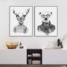 2018 hand draw animals canvas art print poster deer and polar bear set wall pictures for home decoration giclee wall decor from kaola1986 7 54 dhgate