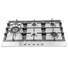 gas cooktop in stainless steel with 5 sealed brass burners
