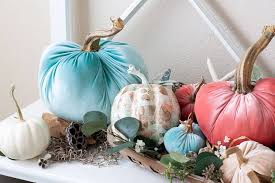 diy velvet pumpkins just like the pros velvet pumpkins in c aqua and natural in a