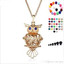 2019 disffuser necklace birdcage owl cone pearl accessories locket essential oil diffuser necklaces hollow out locket cage pendant necklace 2018 from