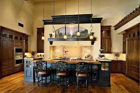 Modern kitchen design with large stove area in Mediterranean style