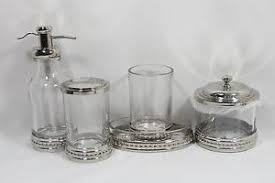 bathroom accessories sets silver. Bella Lux Five Piece Clear Glass And Silver Bathroom Accessory Set New Accessories Sets