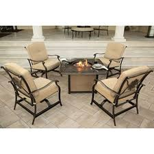 Traditions 5 Piece Seating Set with Cast Top Fire Pit Table
