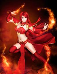 dota 2 beautiful cosplay of lina and crystal maiden