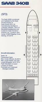 Vintage Airline Seat Map American Eagle Saab 340b