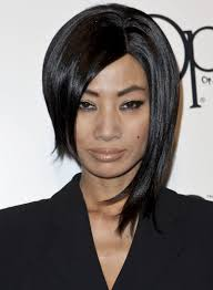 bai ling straight funky edgy black hairstyle
