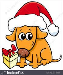 Cute Dog On Christmas Cartoon Stock ...