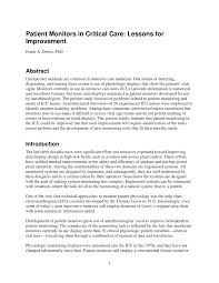 Critical Care Time Chart Pdf Patient Monitors In Critical Care Lessons For Improvement