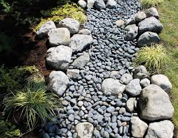 Water and Stone Dry Riverbed Garden Traditional Landscape