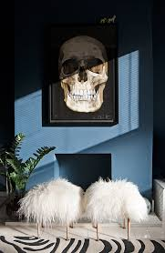 sheepskin stool skull painting decor blue dark living room inspired zebra rug faux fur furniture