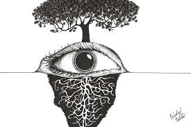 Eye And Sprawling Tree Roots Drawing by Wesley Hicks