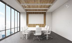 office meeting rooms. Meeting Room Interior In Modern Office. Whiteboard, Large Window, Table And Leather Chairs Office Rooms