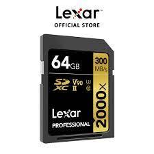 Thẻ Nhớ Lexar 64GB 2000X Professional SDXC UHS-II 300MB/260MB/s (Kèm Reader  UHS-II) - Hàng Chính Hãng