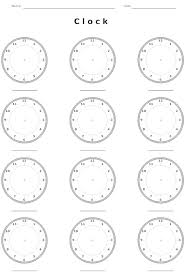 Clock Worksheet Template - Kidz Activities