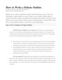 how to write a debate outline how to write a debate outline creating your basic outlineavoiding logical fallacies edited by chris