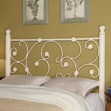 Iron Beds and Headboards Full Queen White Metal Headboard with Elegant Vine  Pattern