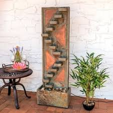 sunnydaze descending staircase slate outdoor water fountain with copper accents and led spotlight water fountains for sale e3