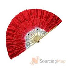 traditional chinese fans. red nylon bamboo frame folding fan for chinese traditional dance asian fans