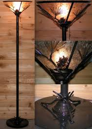 black torchiere floor lamp with bowl shade design