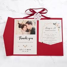 2019 Flower Printing Red Pocket Wedding Invitation With Burgundy Ribbon And Round Tag Diy Invites For Party Wedding Invitation S Wedding Invitations