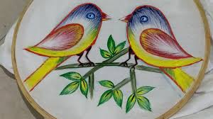 Fabric Painting Designs Of Birds Fabric Painting Fabric Painting On Clothes How To Make Bird Brawling Birds Drawing