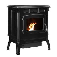2 000 sq ft epa certified cast iron pellet stove black enameled