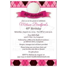40th Birthday Invitations 40th Birthday Party Invitation Golf Theme Pink Black White Argyle Plaid Golf Ball