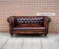 Leather Couch Restoration Antique 19thc Leather Chesterfield Sofa Drop Arm Hand Full