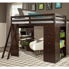 bedroom dazzling twin loft bed with storage espresso skyway desk and tower by canwood 5