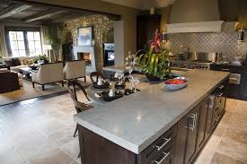 Wonderful l shaped kitchen island decorating idea with living room