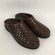 details about cole haan country womens slides 6b brown woven leather slip on mules f6878