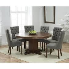 mark harris turin solid dark oak dining table 150cm round pedestal with 4 albury grey
