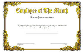 Employee Of The Month Certificate Templates Employee Of The Month Template Free 30 Printable Employee Of The