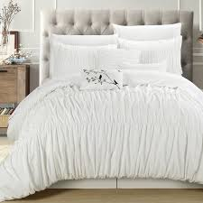 white pleated comforter. Wonderful Pleated Maison Rouge Byron White Pleated And Ruffled 7piece Comforter Set Intended K