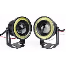 name 12v 30w 64mm 2 5 inch universal super bright car led cob fog angel eyes drl auto light spot light head lamp colorful for option