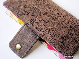 custom made handmade women brown faux tooled leather wallet colorful small fans by casa garcia custommade com