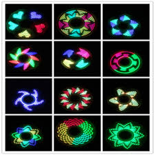 Fidget Spinner Pattern Unique 48 Pc LED Creative Shiny Metal Fidget Spinner With Graphic Patterns