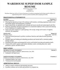 ... Warehouse Supervisor Resume Sample 3 Resumes Technology It Example ...