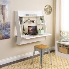 Furnitures:Stunning White Floating Hideaway Desk And Vintage Desk On Yellow  Rug Adorable Space Saving