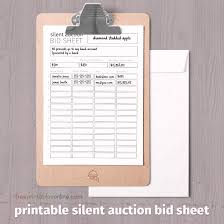 Bid Sheet For Silent Auction Printable Black And White Printable Silent Auction Bid Sheet Free Printables