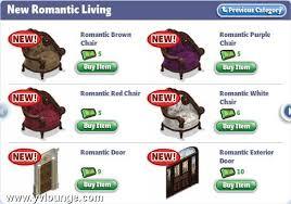 yoville romantic living room items
