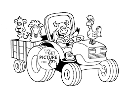 Coloring Pages Animal Farm Save Funny Farm Animal In Tractor