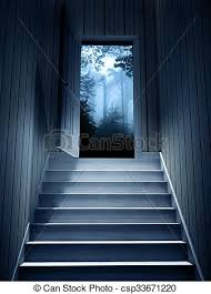 Steps leading from a dark basement to open the door 3d stock