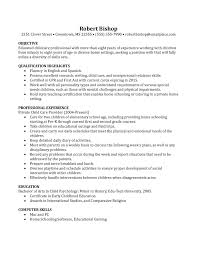 Basic Nanny Resume Example Resume Cover Letter For Child Care