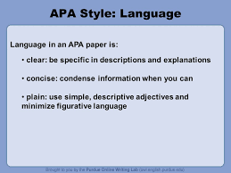 apa formatting and style guide ppt  apa style language language in an apa paper is