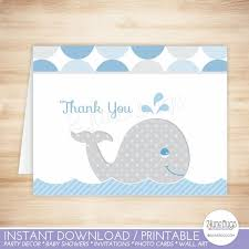 Mod Whale Thank You Card Template Whale Folded Thank You Card