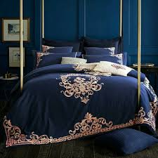 details about 6pc luxury dark blue embroidered queen 100 egyptian cotton duvet cover set