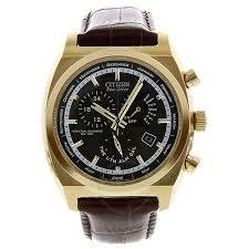 citizen calibre 8700 eco drive black dial rose gold tone steel brown leather strap